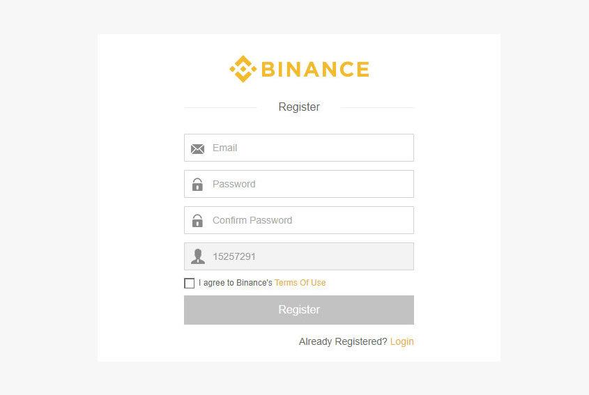 Binance - registrácia - formálár