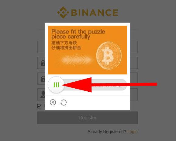 Binance - posuvný krúžok pre puzzle