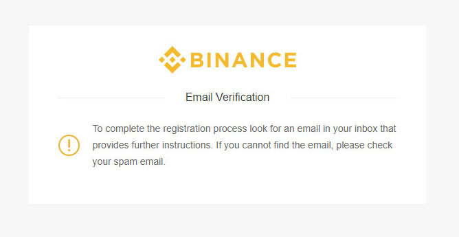 Binance - verifikácia emailu oznámenie