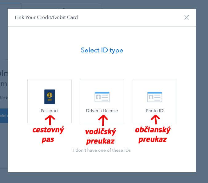 Coinbase - výber dokladu totožnosti