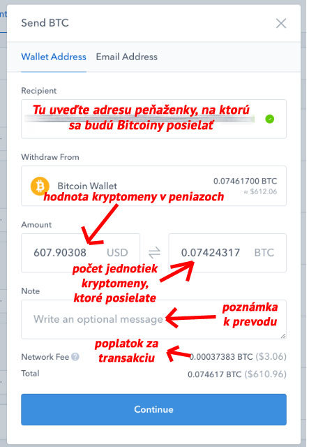 Coinbase - Send BTC