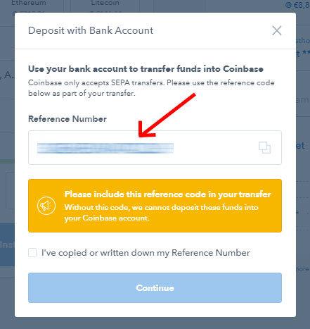 Coinbase - referenčné číslo