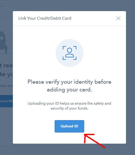 Coinbase - upload dokladu totožnosti