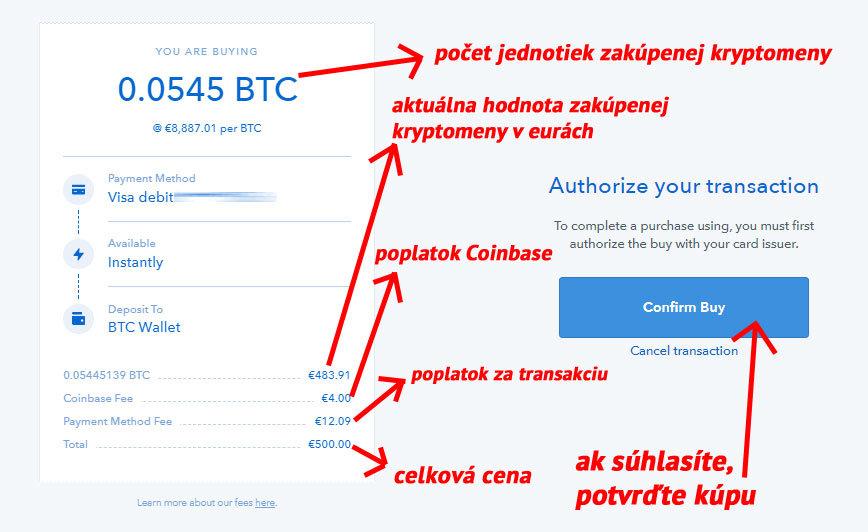 Coinbase - potvrdenie kúpy
