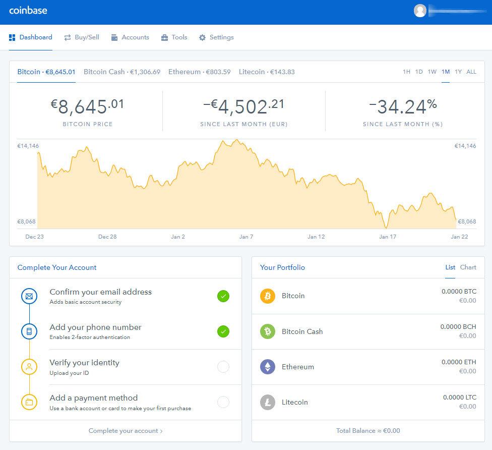 Coinbase - účet