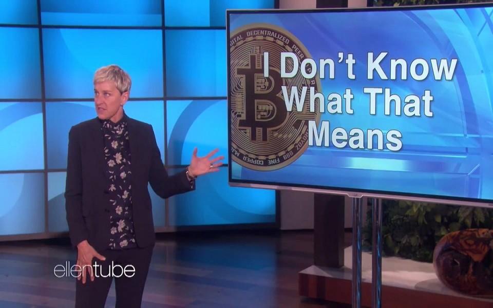 Téma Bitcoin v šou Ellen
