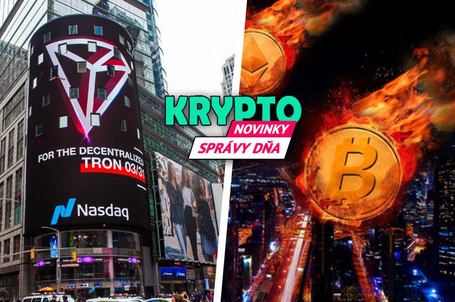 Správy, Tron a Bitcoin padá