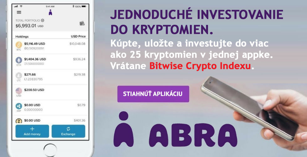 Abra - Jednoduché investovanie do kryptomien vrátane BIT10 tokenu založeného na Bitwise 10 Crypto Indexe