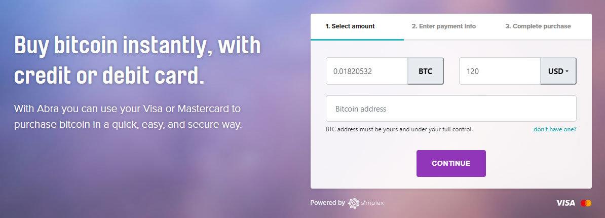 BTC si môžete kúpiť priamo cez stránku Abra.com