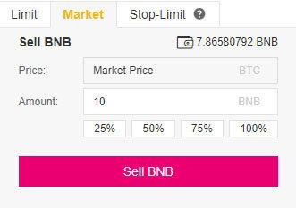 Návod Binance: Sell podľa aktuálnej ceny