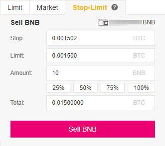 Návod Binance: Zadanie Stop Limit Sell