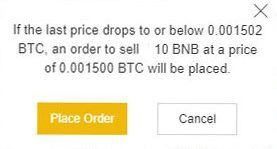 Návod Binance: Stop Limit Sell - Place Order