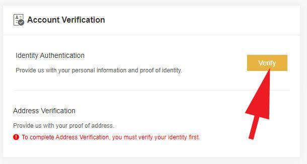 Binance - Jersey Verifikácia účtu