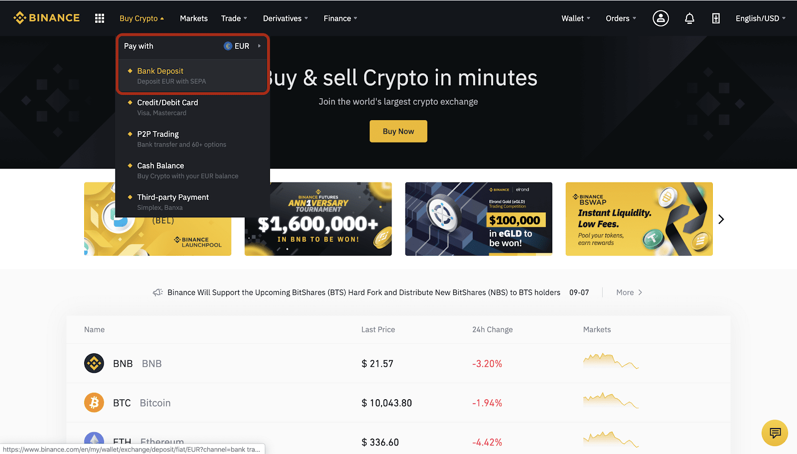 Binance kúpa Sepa